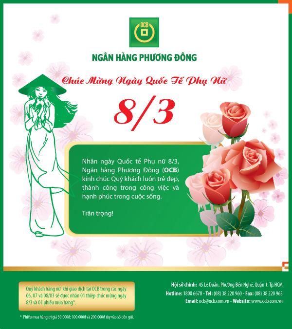 OCB Chúc mừng ngày Quốc tế Phụ nữ 8 tháng 3